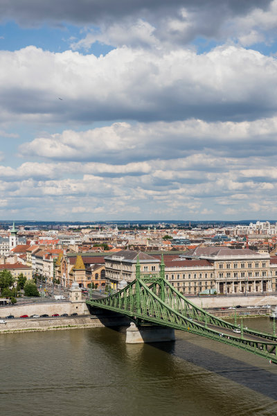 Hungaroring, Budapest, Hungary. Monday 5 June 2017. A view of the city, Liberty Bridge and the Danube River. World Copyright: Zak Mauger/LAT Images ref: Digital Image _56I0506