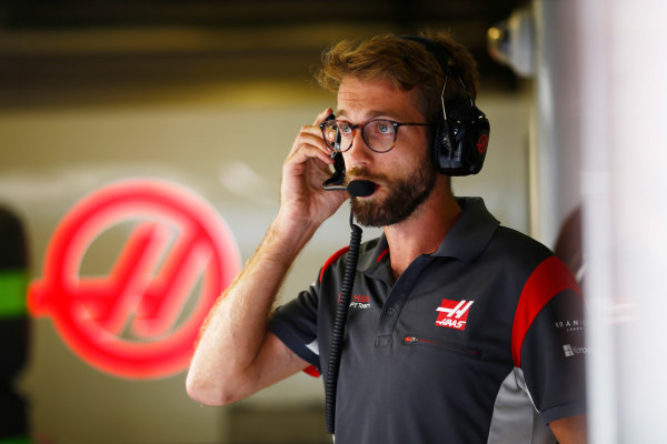 Hungaroring, Budapest, Hungary.  Thursday 27 July 2017. A Haas team member at work. World Copyright: Andy Hone/LAT Images  ref: Digital Image _ONZ8008