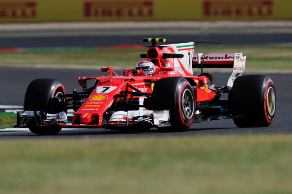 Silverstone, Northamptonshire, UK.  Friday 14 July 2017. Kimi Raikkonen, Ferrari SF70H.  World Copyright: Zak Mauger/LAT Images  ref: Digital Image _56I8351