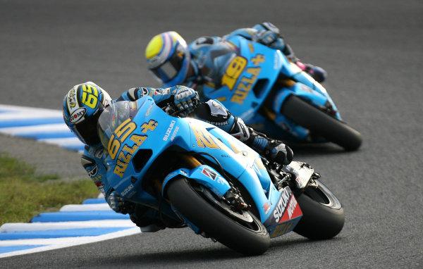 Japan Motegi 01-03 Oct 2010Loris Capirossi Rizla Suzuki leads team mate Alvaro Bautista