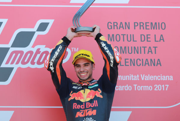 2017 Moto2 Championship - Round 18 Valencia, Spain  Sunday 12 November 2017 Podium: Race winner Miguel Oliveira, Red Bull KTM Ajo  World Copyright: Gold and Goose Photography/LAT Images  ref: Digital Image 706059