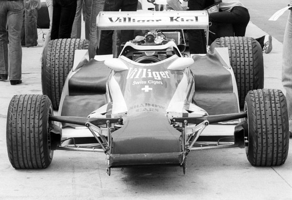 A partially built Shadow DN9 in the pits.