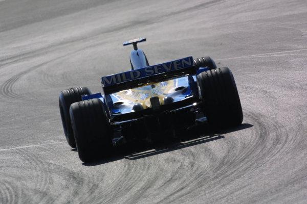 2003 European Grand Prix - Friday 1st Qualifying,Nurburgring, Germany.27thth June 2003.Jarno Trulli, Renault R23, actionWorld Copyright LAT Photographic.Digital Image Only.