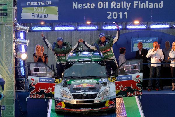 Round 8, Rally Finland, 28th - 30th July 2011Juho Hanninen, Mikko-Antero Markkula, Skoda, PodiumWorldwide Copyright: LAT/McKlein