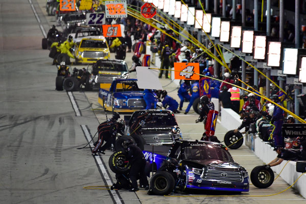 NASCAR Camping World Truck Series TheHouse.com 225 Chicagoland Speedway, Joliet, IL USA Friday 15 September 2017 Ryan Truex, ADVICS / AISIN Toyota Tundra and the rest of the field make pit stops World Copyright: Logan Whitton LAT Images