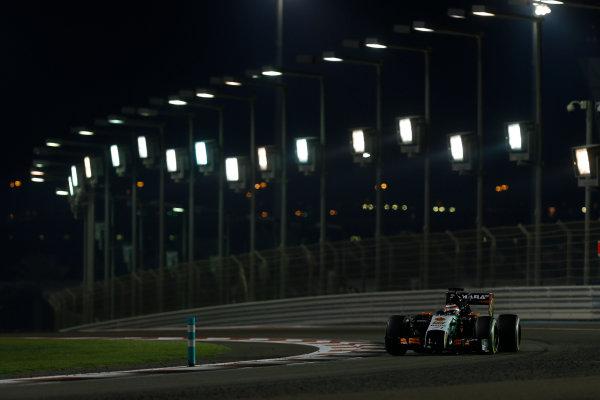 Yas Marina Circuit, Abu Dhabi, United Arab Emirates. Sunday 23 November 2014. Nico Hulkenberg, Force India VJM07 Mercedes. World Copyright: Andrew Ferraro/LAT Photographic. ref: Digital Image _FER1430