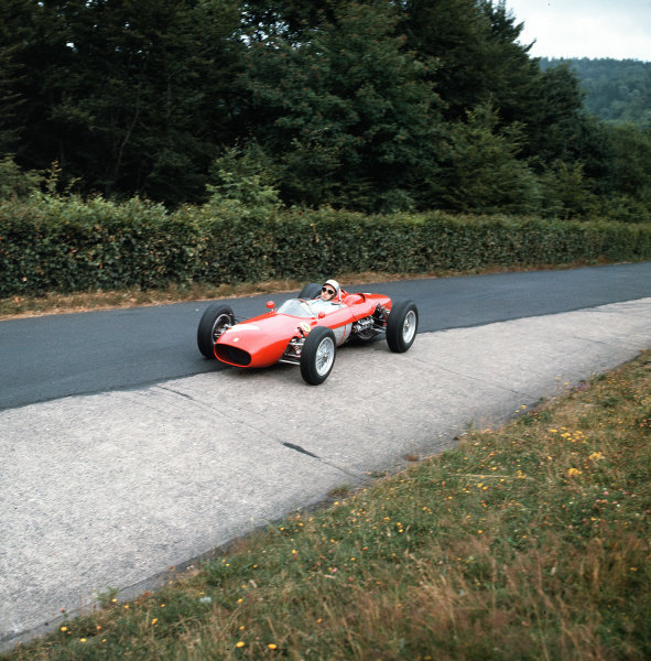 Nurburgring, Germany.3-5 August 1962.Lorenzo Bandini (Ferrari Dino 156) in the Karussell.Ref-3/0643.World Copyright - LAT Photographic