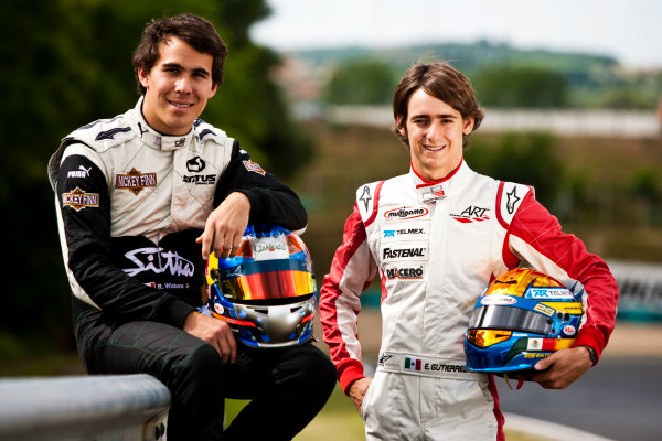 Round 6.Hungaroring, Budapest, Hungary. 29th July 2010. Thursday Preview.Robert Wickens, (CAN, Status Grand Prix) and Esteban Gutierrez, (MEX, ART Grand Prix) winners of races 9 and 10 in the GP3 series at Hockenheim. Portrait. World Copyright: Drew Gibson/GP3 Media Service. Digital Image _Y2Z0921