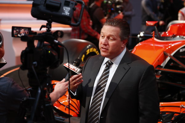 McLaren MCL32 Honda Formula 1 Launch. McLaren Technology Centre, Woking, UK. Friday 24 February 2017. Zak Brown, Executive Director of McLaren Technology Group, is interviewed by the media. World Copyright: Glenn Dunbar/LAT Images Ref: _31I9590