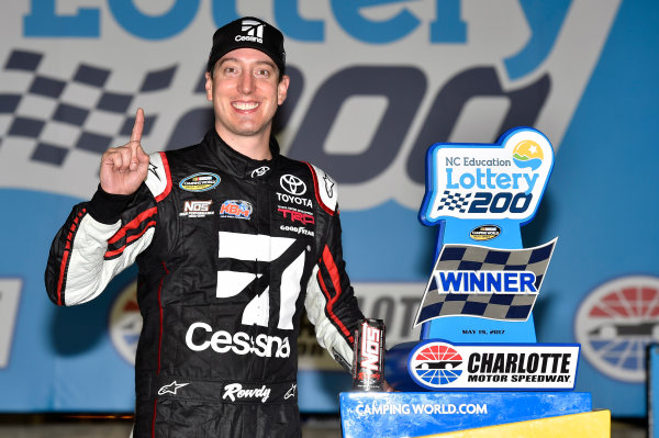 NASCAR Camping World Truck Series North Carolina Education Lottery 200 Charlotte Motor Speedway, Concord, NC USA Friday 19 May 2017 Kyle Busch, Cessna Toyota Tundra celebrates his win in Victory Lane World Copyright: Nigel Kinrade LAT Images ref: Digital Image 17CLT1nk04956