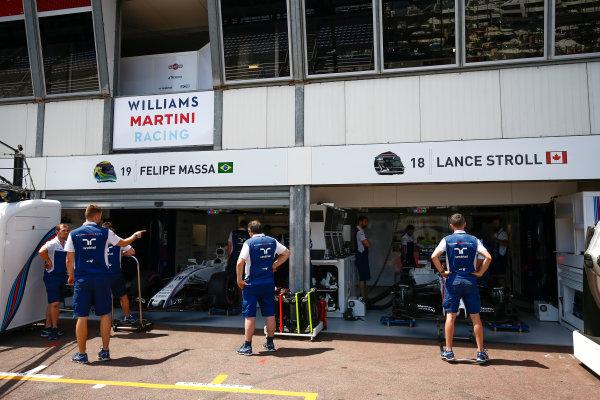 Monte Carlo, Monaco. Wednesday 24 May 2017. Felipe Massa, Williams Martini Racing, and Lance Stroll, Williams Martini Racing. World Copyright: Andrew Hone/LAT Images ref: Digital Image _ONZ8088
