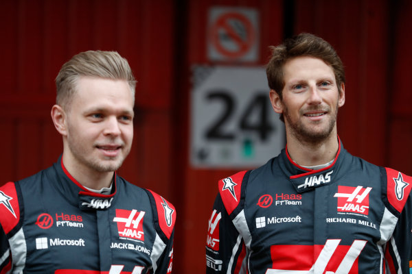 HAAS F1 Car Formula 1 Launch. Barcelona, Spain  Monday 27 February 2017. Kevin Magnussen, Haas. and Romain Grosjean, Haas F1.  World Copyright: Dunbar/LAT Images Ref: _31I9930