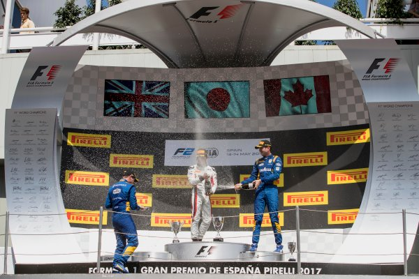 2017 FIA Formula 2 Round 2. Circuit de Catalunya, Barcelona, Spain. Sunday 14 May 2017. Oliver Rowland (GBR, DAMS), Nobuharu Matsushita (JPN, ART Grand Prix), Nicholas Latifi (CAN, DAMS)  Photo: Zak Mauger/FIA Formula 2. ref: Digital Image _56I0268