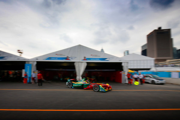 2016/2017 FIA Formula E Championship. Hong Kong ePrix, Hong Kong, China. Sunday 09 October 2016. Daniel Abt (66, ABT Schaeffler Audi Sport) leaves the pits. Photo: Adam Warner/LAT/Formula E ref: Digital Image _L5R8206