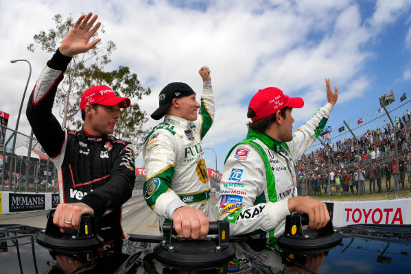 11-13 April, 2014, Long Beach, California USA Mike Conway, Will Power and Carlos Munoz on their victory lap ©2014, Lesley Ann Miller LAT Photo USA