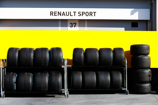 Baku City Circuit, Baku, Azerbaijan. Saturday 24 June 2017. Stacks of wet tyres in the paddock. World Copyright: Steven Tee/LAT Images ref: Digital Image _R3I3345