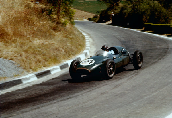 Pescara, Italy. 16-18 August 1957. Jack Brabham (Cooper T43-Climax) 7th position. Ref-57 PES 09. World Copyright - LAT Photographic