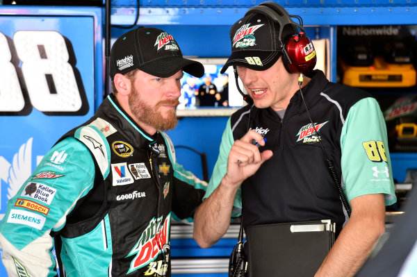15-16 May, 2015, Concord, North Carolina, USA Dale Earnhardt Jr and Greg Ives ? 2015, Nigel Kinrade LAT Photo USA