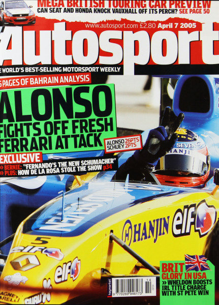 Cover of Autosport magazine, 7th April 2005
