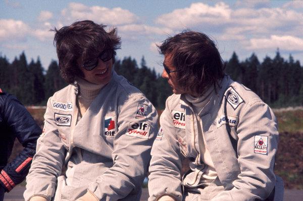 1973 Swedish Grand Prix.Anderstorp, Sweden. 15-17 June 1973.Tyrrell team mates Francoise Cevert and Jackie Stewart.Ref-73 SWE 21.World Copyright - LAT Photographic