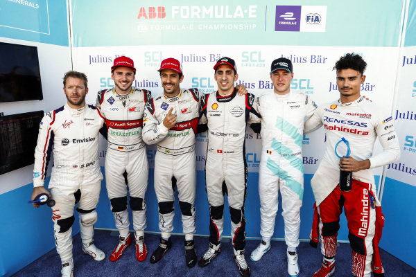 Sam Bird (GBR), Envision Virgin Racing,Daniel Abt (DEU), Audi Sport ABT Schaeffler, Sébastien Buemi (CHE), Nissan e.Dams, Stoffel Vandoorne (BEL), HWA Racelab, and Pascal Wehrlein (DEU), Mahindra Racing, after Lucas Di Grassi (BRA), Audi Sport ABT Schaeffler takes pole position in super pole