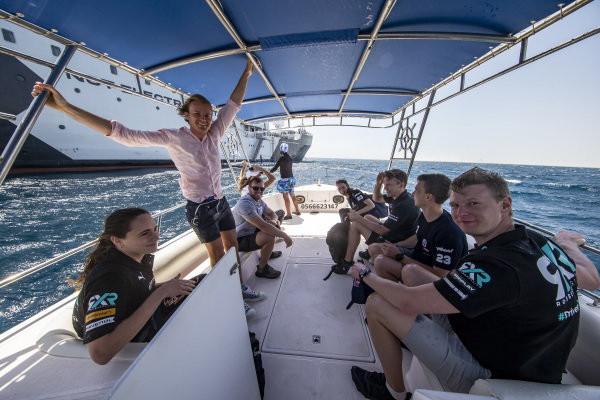 Molly Taylor (AUS), Rosberg X Racing, Nico Rosberg, founder and CEO, Rosberg X Racing, Timmy Hansen (SWE), Andretti United Extreme E, and Johan Kristoffersson (SWE), Rosberg X Racing, return to the RMS St. Helena on a tender