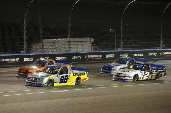 #98: Grant Enfinger, ThorSport Racing, Ford F-150 Champion/Curb Records, #21: Zane Smith, GMS Racing, Chevrolet Silverado MRC Construction, #2: Sheldon Creed, GMS Racing, Chevrolet Silverado Chevy Accessories/Trench Shoring, #23: Brett Moffitt, GMS Racing, Chevrolet Silverado Plan B Sales
