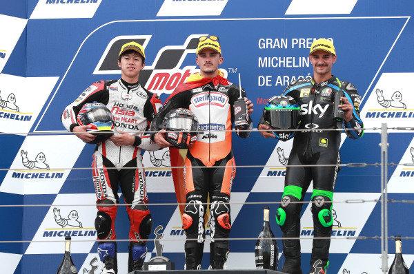 Podium: race winner Aron Canet, Max Racing Team, second place Ai Ogura, Honda Team Asia, third place Dennis Foggia, Sky Racing Team VR46