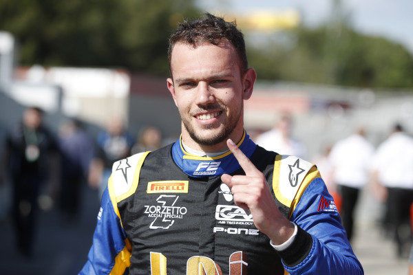 Luca Ghiotto (ITA, UNI VIRTUOSI), celebrates after taking Pole Position