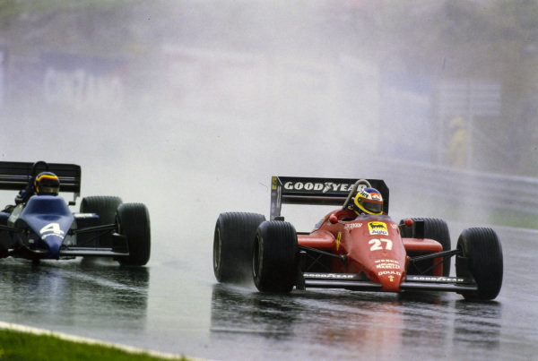 Michele Alboreto, Ferrari 156/85, battles with Stefan Bellof, Tyrrell 012 Ford. Bellof sports nose damage.