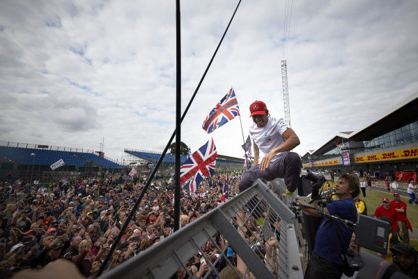 Lewis Hamilton, Mercedes AMG F1, 1st position, celebrates after the race with his home fans