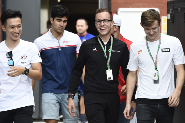 SPA-FRANCORCHAMPS, BELGIUM - AUGUST 29: Guanyu Zhou (CHN, UNI VIRTUOSI) Anthoine Hubert (FRA, BWT ARDEN) Callum Ilott (GBR, SAUBER JUNIOR TEAM BY CHAROUZ) during the Spa-Francorchamps at Spa-Francorchamps on August 29, 2019 in Spa-Francorchamps, Belgium. (Photo by LAT Images / FIA F2 Championship)