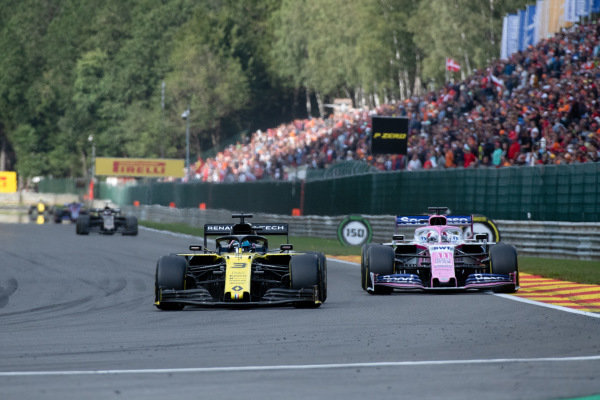 Daniel Ricciardo, Renault R.S.19, leads Sergio Perez, Racing Point RP19