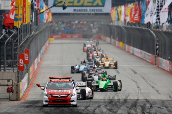 4-5 May, 2013, Sao Paulo, Brazil Honda Civic pace car leads Takuma Sato and the field © 2013, Michael L. Levitt LAT Photo USA.