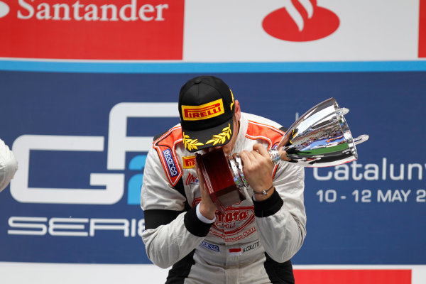 2013 GP2 Series. Round 3.  Circuit de Catalunya, Barcelona Spain. 12th May 2013. Sunday Race. Stefano Coletti (MON, Rapax) celebrates his victory on the podium.  World Copyright: Alastair Staley/GP2 Series Media Service. Ref: _A8C4223