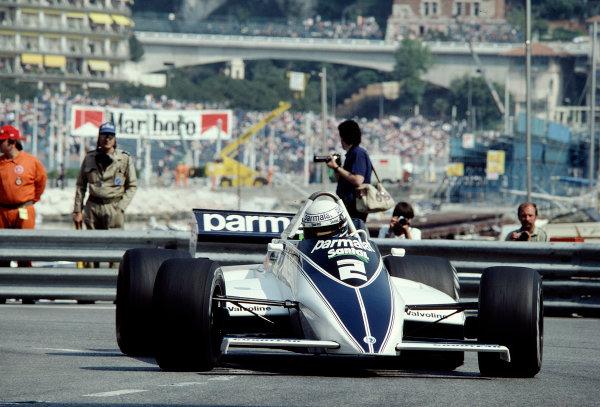 1982 Monaco Grand Prix.Monte Carlo, Monaco.20-23 May 1982.Riccardo Patrese (Brabham BT49D Ford) 1st position and his maiden Grand Prix win.Ref-82 MON 84.World Copyright - LAT Photographic