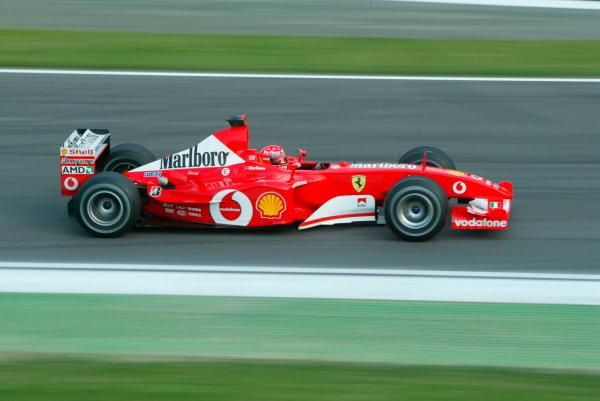 2003 San Marino Grand Prix - Saturday 2nd Qualifying,Imola, Italy.19th April 2003.Michael Schumacher, Ferrari F2002, action.World Copyright LAT Photographic.ref: Digital Image Only.