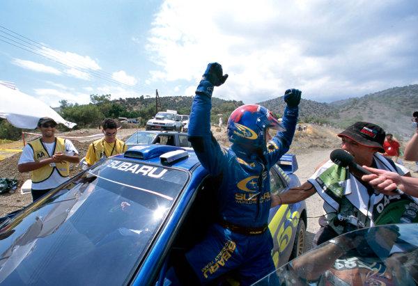 2003 World Rally ChampionshipRally of Cyprus, Cyprus. 19th - 22nd June 2003.Rally winners Petter Solberg/Philip Mills (Subaru Impreza WRC 2003), celebrate.World Copyright: McKlein/LAT Photographicref: 03WRCCyprus14