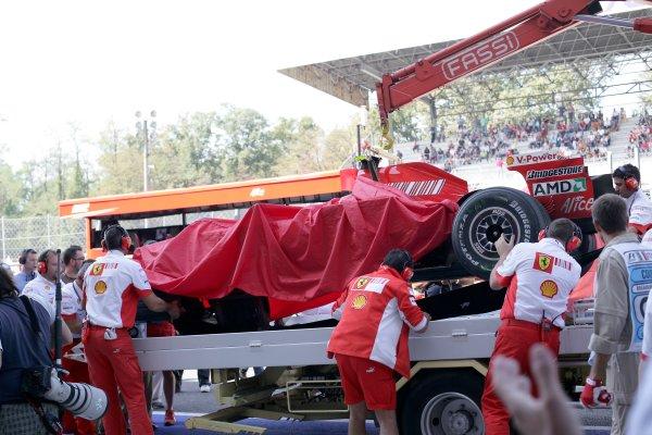 2007 Italian Grand Prix - Saturday QualifyingAutodromo di Monza, Monza, Italy.8th September 2007.Kimi Raikkonen's destroyed Ferrari F2007 is returned to the pits.World Copyright: Steven Tee/LAT Photographicref: Digital Image YY2Z8452