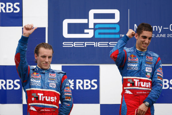 Magny-Cours, France. 22nd June.Sunday Race. Sebastien Buemi (SUI, Trust Team Arden) celebrates his victory on the podium with Yelmer Buurman (NED, Trust Team Arden). World Copyright: Andrew Ferraro/GP2 Series Media Service.ref: Digital Image _H0Y8060