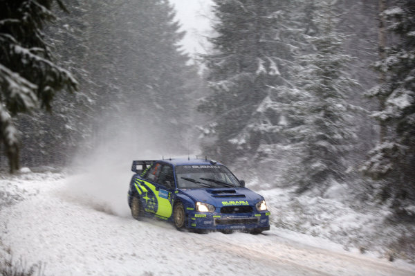 2005 FIA World Rally Champs. Round two Swedish Rally.10th-13th February 2005.Petter Solberg, Subaru, action.World Copyright: McKlein/LAT