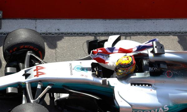Circuit Gilles Villeneuve, Montreal, Canada. Sunday 11 June 2017. Lewis Hamilton, Mercedes F1 W08 EQ Power+, 1st Position, arrives in Parc Ferme. World Copyright: Glenn Dunbar/LAT Images ref: Digital Image _O3I9997