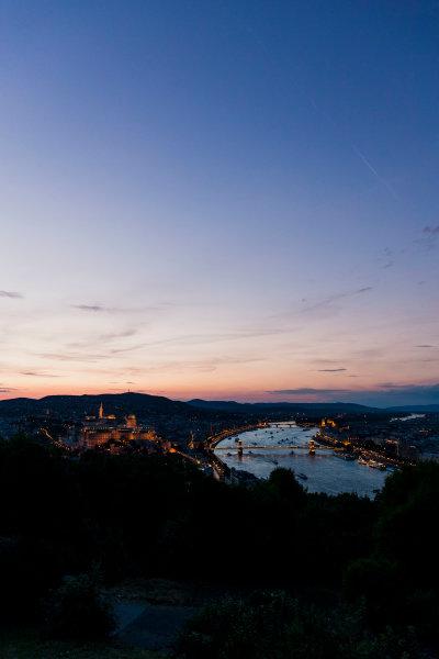 Hungaroring, Budapest, Hungary. Monday 5 June 2017. A view of the city and dusk. World Copyright: Zak Mauger/LAT Images ref: Digital Image _56I0571
