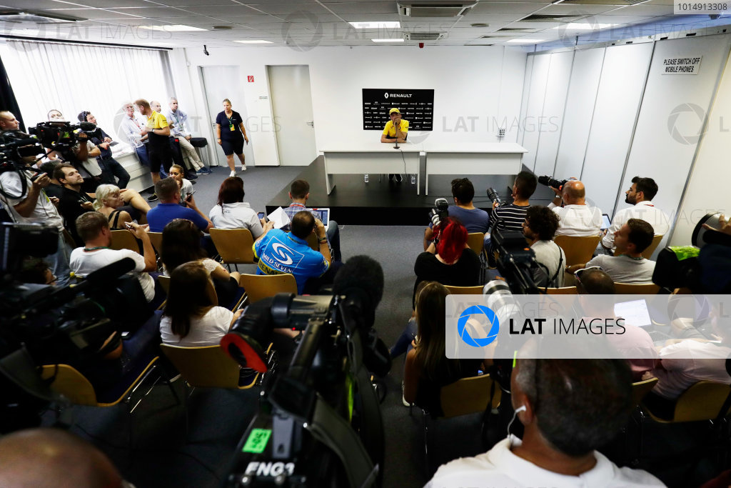 Hungaroring, Budapest, Hungary.  Wednesday 02 August 2017. Robert Kubica, Renault, addresses the media in a press conference. World Copyright: Zak Mauger/LAT Images  ref: Digital Image _56I9979