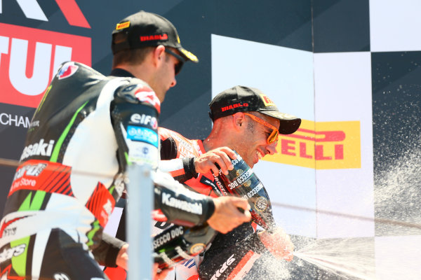 2017 Superbike World Championship - Round 7 Misano, Italy. Sunday 18 June 2017 Podium: Race winner Marco Melandri, Ducati Team World Copyright: Gold and Goose Photography/LAT Images ref: Digital Image WSBK-Post-500-9270 1.20.17 AM