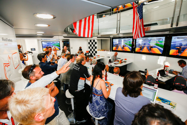 Monte Carlo, Monaco. Sunday 28 May 2017. The McLaren team lay on an American celebration to celebrate the efforts of their driver Fernando Alonso in the Indy 500. World Copyright: Andy Hone/LAT Images ref: Digital Image _ONZ0967