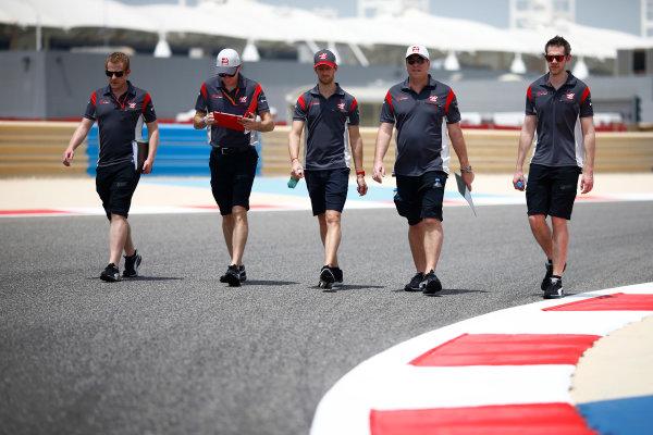 Bahrain International Circuit, Sakhir, Bahrain.  Thursday 13 April 2017. Romain Grosjean, Haas F1, walks the track with his team. World Copyright: Andy Hone/LAT Images ref: Digital Image _ONZ6530