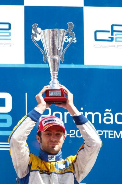 Sunday Race.Luca Filippi (ITA, Super Nova Racing) celebrates his victory on the podium. World Copyright: Glenn Dunbar / GP2 Series Media Service.Ref: _3GD3265 jpg