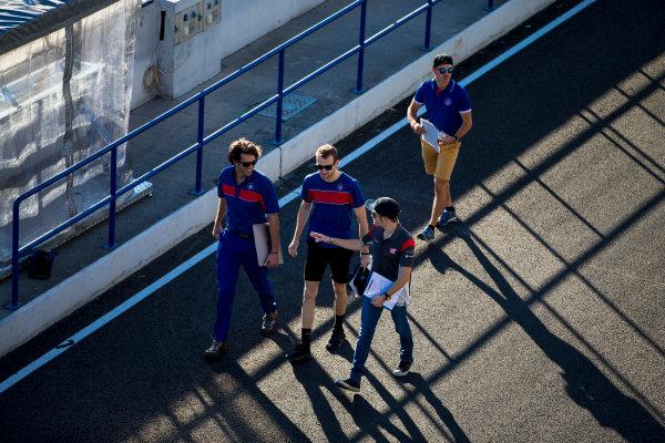 2017 GP3 Series Round 7.  Circuito de Jerez, Jerez, Spain. Thursday 5 October 2017. Ryan Tveter (USA, Trident), Dorian Boccolacci (FRA, Trident), Santino Ferrucci (USA, Trident). Photo: Zak Mauger/GP3 Series Media Service. ref: Digital Image _X0W9290