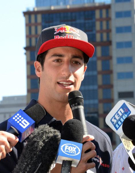 Daniel Ricciardo (AUS) Scuderia Toro Rosso talks with the media.Formula One World Championship, Rd1, Australian Grand Prix, Preparations, Albert Park, Melbourne, Australia, Tuesday 12 March 2013.